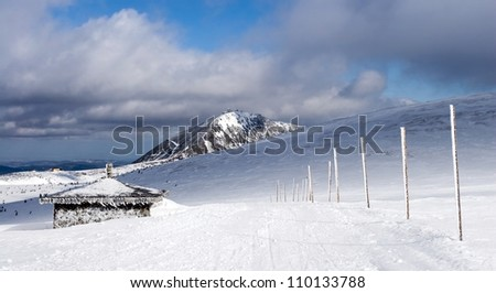 Snowy Path Leading to Sniezka - Highest Peak of the Czech Republic