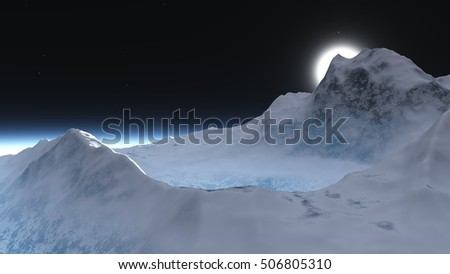 snowy peak of the volcano. Mountain landscape. mountains in the snow. 3d rendering.