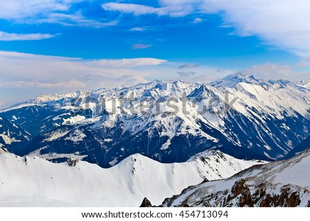 Snowy peaks of the Alps, beautiful panorama view of mountains in Mayerhofen, Austria - stock photo