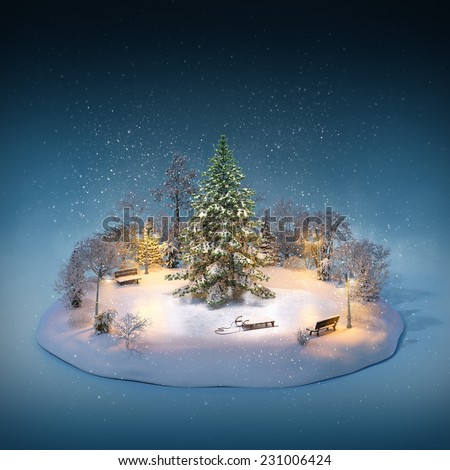 Snowy pine on a ice rink in the park. Unusual winter illustration. Christmas - stock photo