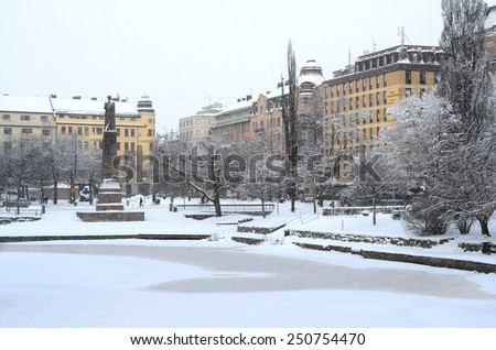 Snowy Scene from Downtown Orebro, Sweden - stock photo