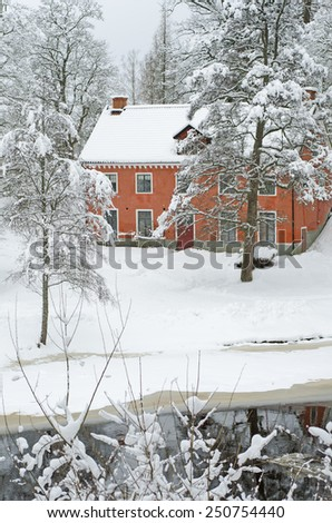 Snowy Scene from H�¤sthagen, Sweden - stock photo