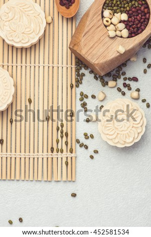 Snowy skin mooncakes. Chinese mid autumn festival raditional foods.  mooncakes. - stock photo