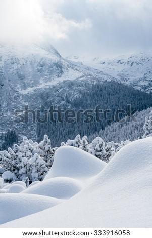 Snowy Stanisoara-ridge in winter in Retezat Mountains, Romania - stock photo