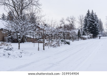 Snowy street of small village at winter season, central Ukraine