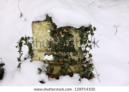Snowy Tombstone at the Prague Jewish Cemetery, Czech Republic - stock photo