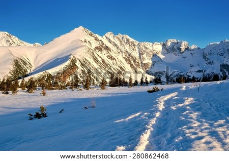 Snowy trail leading to the Gasienicowa valley in National Park in the Tatra Mountains, Poland. - stock photo