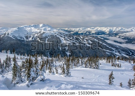 Snowy Whistler Mountain in British Columbia