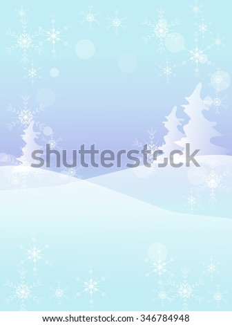 Snowy winter landscape illustration vertical with tree and snowflakes