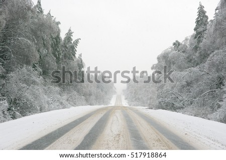 Snowy winter road among frozen forest after sleet. Cold weather, snowstorm, bad visibility. Moscow area.