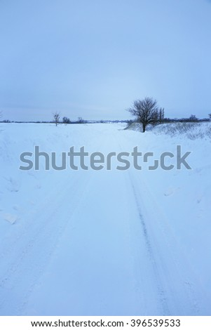 Snowy winter road, outdoor