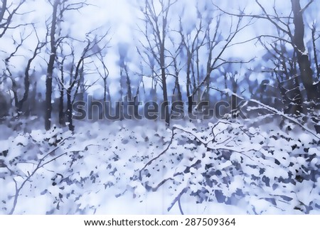 Snowy winter scene of the woods in the Poconos of Pennsylvania  - transformed into a  lavender toned digital painting with a slight shutter streak - stock photo