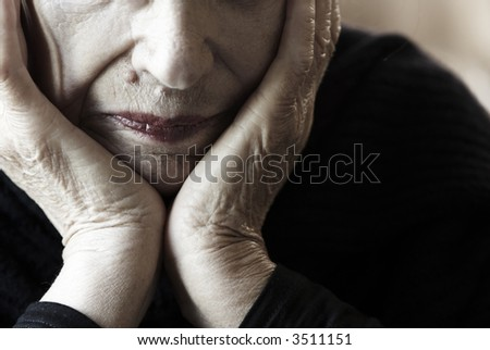 so sad (special toned photo f/x, focus point on lips) - stock photo