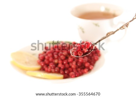 soaked cowberries with lemonl or don't have day's illness isolated