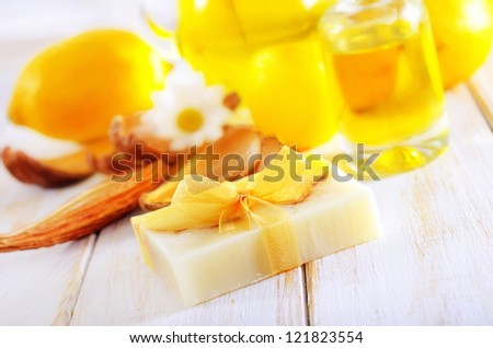 soap and aroma oil - stock photo