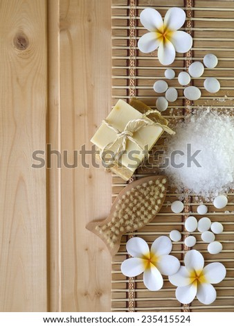 Soap and fish shaped brush on the wooden background - stock photo