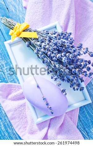 soap and lavender - stock photo