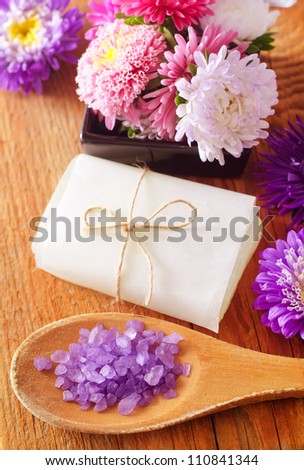 soap and salt - stock photo