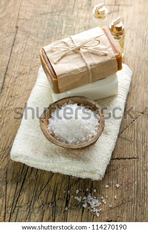 Soap and sea salt - stock photo
