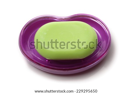 soap and soap-box isolated on a white background  - stock photo