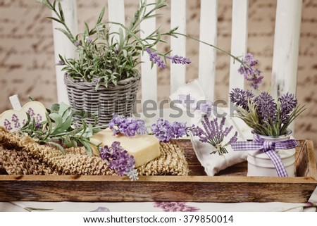 soap bars and lavender decoration