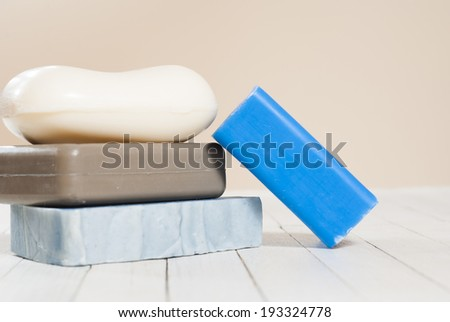 soap blocks on white wood table