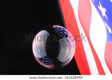 Soap Bubbles with reflection of the American flag