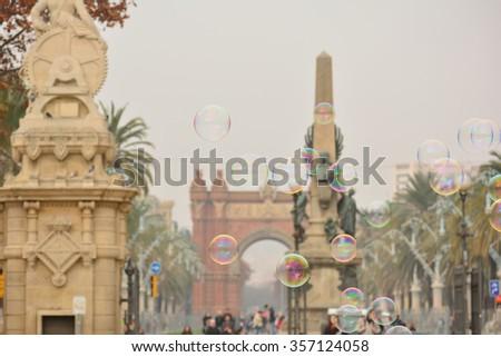 Soap bubbles within Ciudadela Park, Barcelona, Spain - stock photo