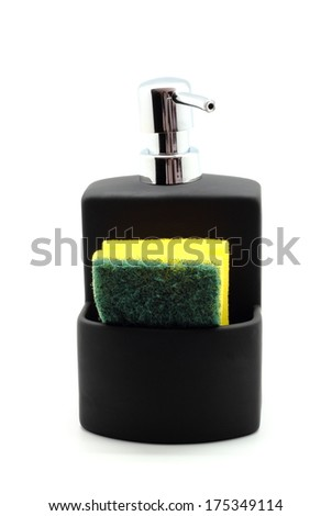 Soap dispenser and scourer isolated on white background - stock photo