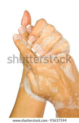 Soap female hands isolated on white background - stock photo