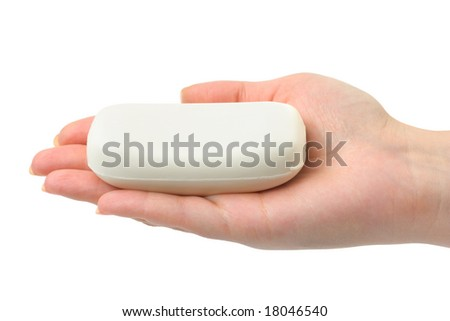 Soap in hand isolated on white background - stock photo