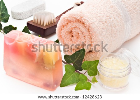 soap towel sea-salt brush and ivy branch arranged on white background