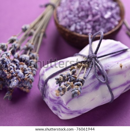 Soap with sea-salt and dried lavender.