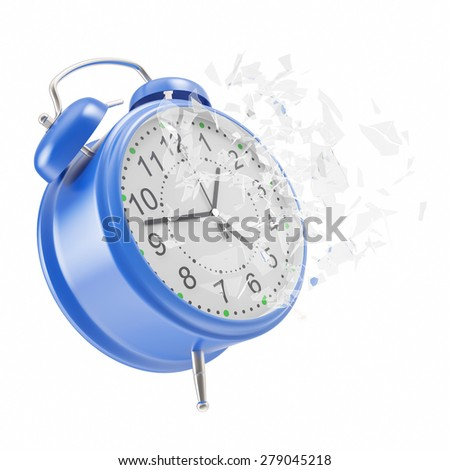 Soaring Clock alarm clock with broken glass shattered into small pieces. 3d illustration High resolution - stock photo