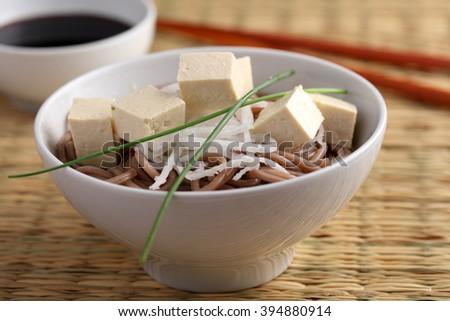 Soba noodle soup with tofu, daikon radish and green onion - stock photo