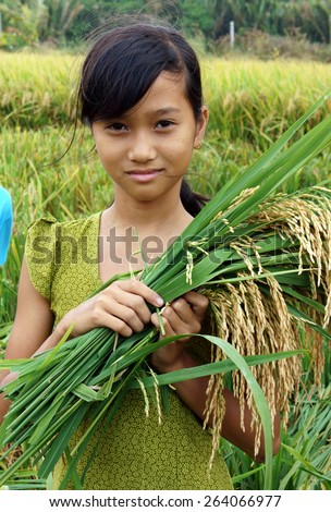 SOC TRANG, VIET NAM- MAR 23: Unidentified Asia children playing on rice field, Vietnamese kid hold sheaf of paddy on hand, stand with happy, smiling face in good crop, Vietnam, Mar 23, 2015