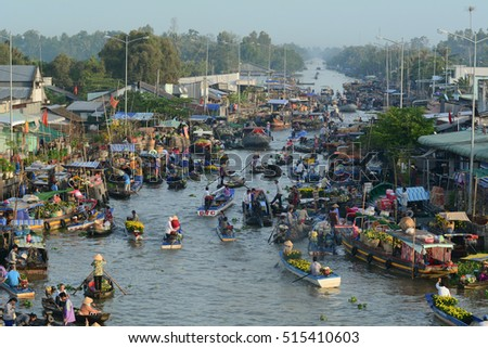 Soc Trang, Vietnam - Feb 2, 2016. View of Nga Nam floating market at sunrise in Soc Trang, southern Vietnam. Nga Nam is one of famous market in southern Vietnam.