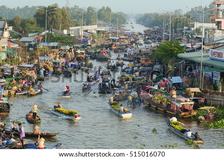 Soc Trang, Vietnam - Feb 2, 2016. View of Nga Nam floating market in Mekong Delta, southern Vietnam. Nga Nam is one of famous market in southern Vietnam.