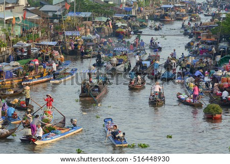 Soc Trang, Vietnam - Feb 2, 2016. View of Nga Nam floating market in Soc Trang, southern Vietnam. Nga Nam is the local market of Mekong Delta, Vietnam