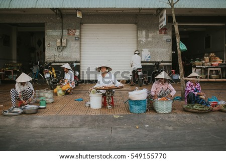 Soc Trang, VIETNAM - November 14, 2016: Local people in Soc Trang on November 14, 2016, Vietnam.
