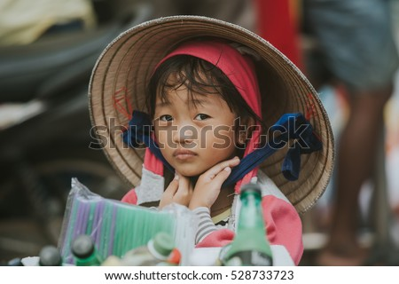 Soc Trang, Vietnam - November 13, 2016: Unidentified beautiful little vietnamese girl in Soc Trang, November 13, 2016, Vietnam.