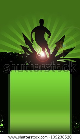 Soccer Action Player on grunge Abstract graphic Background