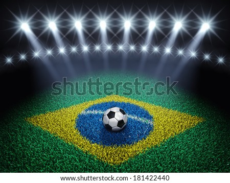 Soccer arena and ball with floodlights , Football pitch with brazilian flag - stock photo