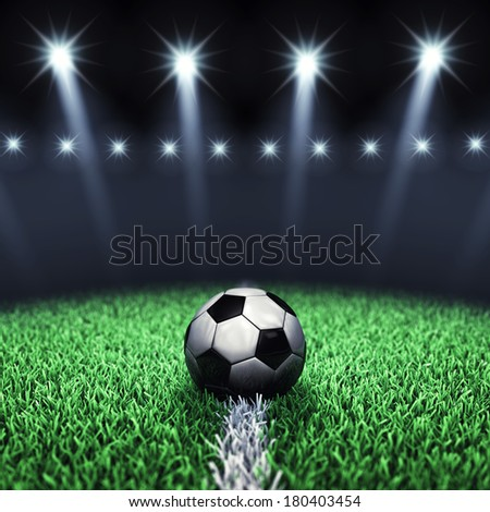 Soccer arena and ball with floodlights , Football stadium - stock photo