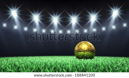 Soccer arena and golden ball with floodlights , Football stadium - stock photo