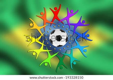 Soccer Background brazil, with flag, Soccer ball and colorful People Silhouette icons - stock photo