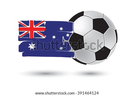 Soccer ball and Australia Flag with colored hand drawn lines - stock photo