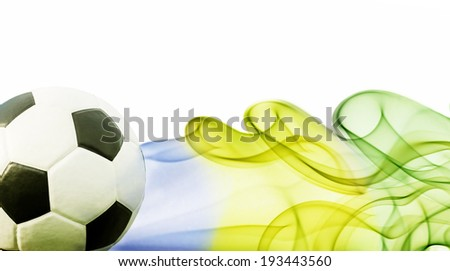 Soccer ball and brazil`s flag colors - World cup of Brazil 2014 - stock photo