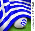 Soccer ball and flag euro greece for euro 2012  group a - stock photo