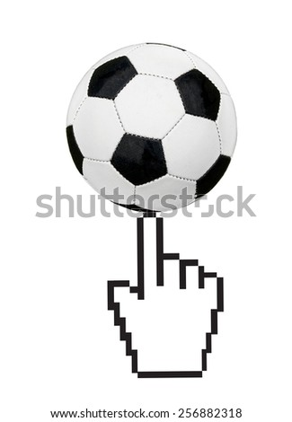 Soccer ball and hand cursor as online betting concept - stock photo